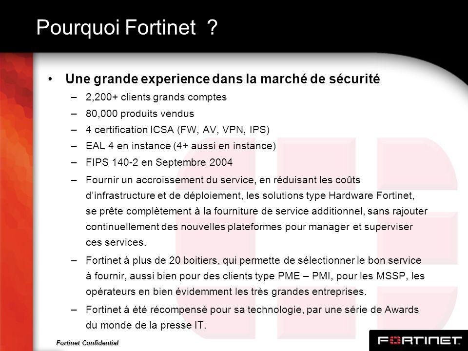 Fortinet Confidential Pourquoi Fortinet ? Une grande experience dans la marché de sécurité –2,200+ clients grands comptes –80,000 produits vendus –4 c