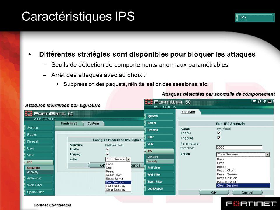 Fortinet Confidential Caractéristiques IPS Différentes stratégies sont disponibles pour bloquer les attaques –Seuils de détection de comportements ano