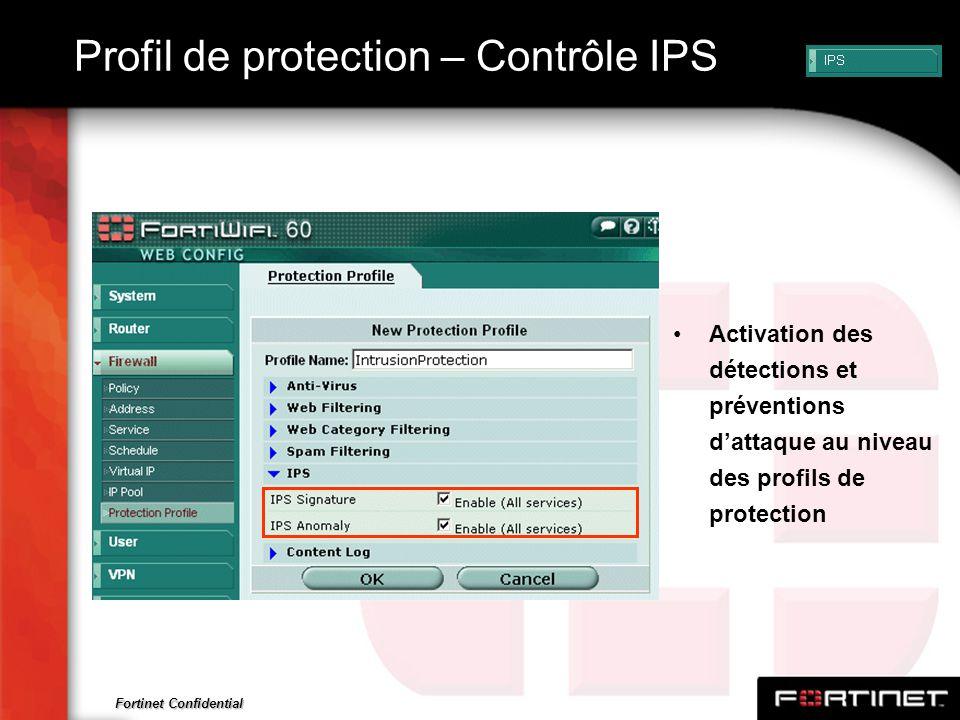 Fortinet Confidential Profil de protection – Contrôle IPS Activation des détections et préventions dattaque au niveau des profils de protection
