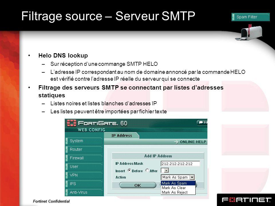 Fortinet Confidential Filtrage source – Serveur SMTP Helo DNS lookup –Sur réception dune commange SMTP HELO –Ladresse IP correspondant au nom de domai