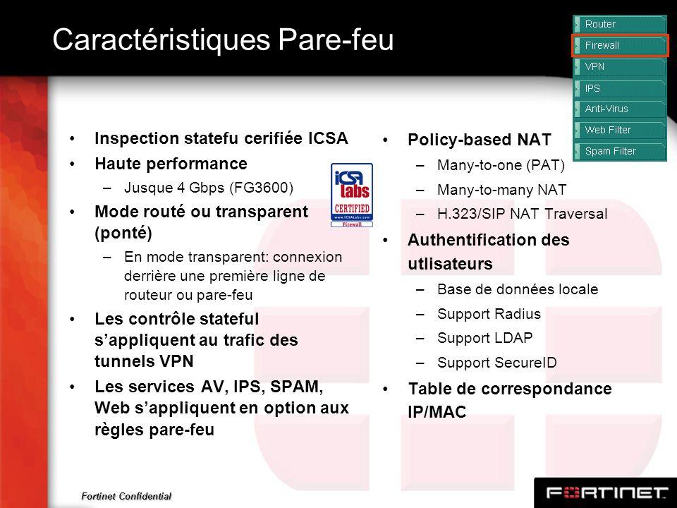 Fortinet Confidential Caractéristiques Pare-feu Inspection statefu cerifiée ICSA Haute performance –Jusque 4 Gbps (FG3600) Mode routé ou transparent (