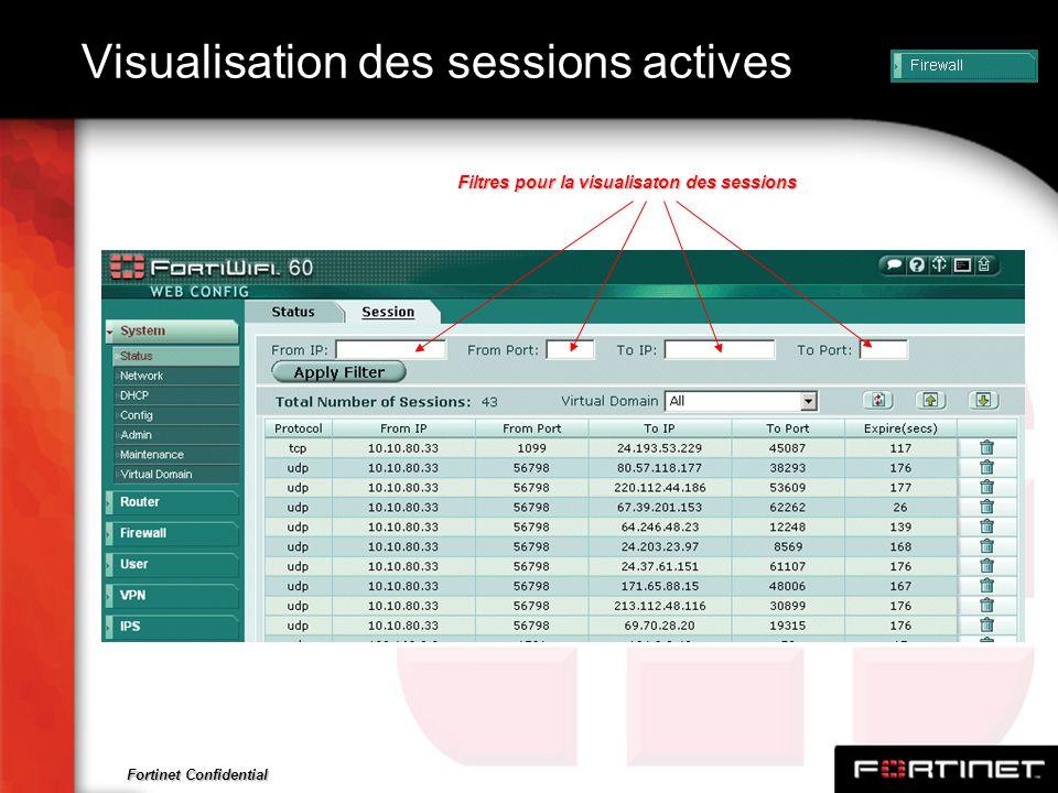 Fortinet Confidential Visualisation des sessions actives Filtres pour la visualisaton des sessions