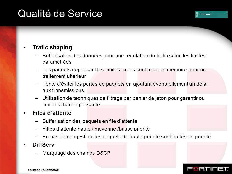 Fortinet Confidential Qualité de Service Trafic shaping –Bufferisation des données pour une régulation du trafic selon les limites paramétrées –Les pa
