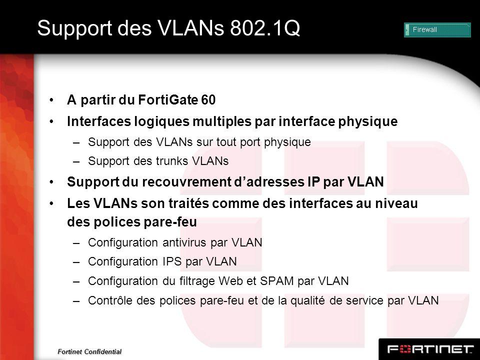 Fortinet Confidential Support des VLANs 802.1Q A partir du FortiGate 60 Interfaces logiques multiples par interface physique –Support des VLANs sur to