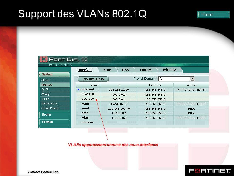 Fortinet Confidential Support des VLANs 802.1Q VLANs apparaissent comme des sous-interfaces