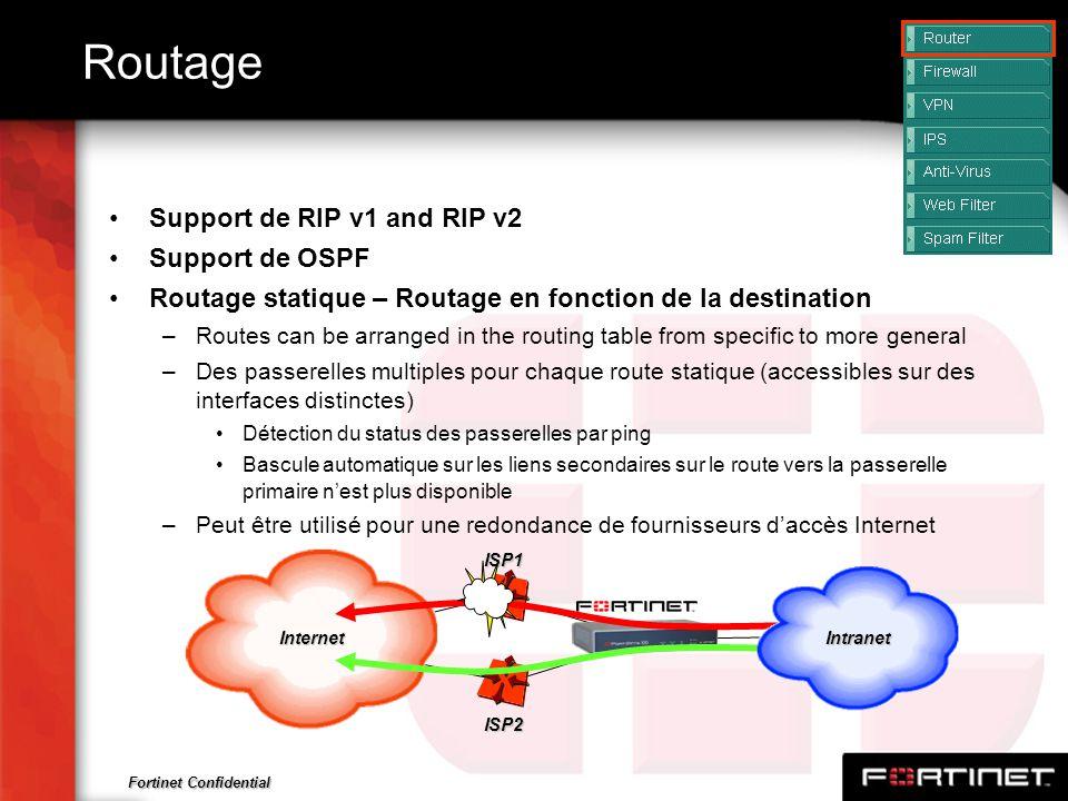 Fortinet Confidential Routage Support de RIP v1 and RIP v2 Support de OSPF Routage statique – Routage en fonction de la destination –Routes can be arr