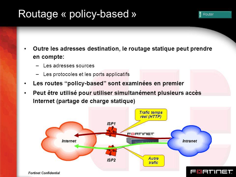 Fortinet Confidential Routage « policy-based » Outre les adresses destination, le routage statique peut prendre en compte: –Les adresses sources –Les