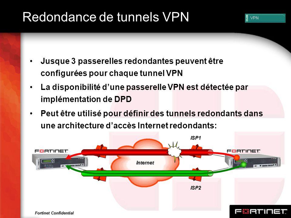 Fortinet Confidential Redondance de tunnels VPN Jusque 3 passerelles redondantes peuvent être configurées pour chaque tunnel VPN La disponibilité dune