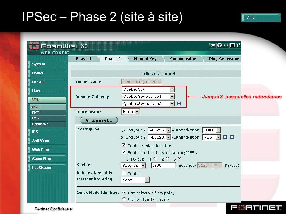 Fortinet Confidential IPSec – Phase 2 (site à site) Jusque 3 passerelles redondantes