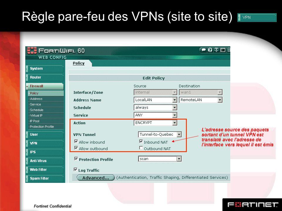 Fortinet Confidential Règle pare-feu des VPNs (site to site) Ladresse source des paquets sortant dun tunnel VPN est translaté avec ladresse de linterf