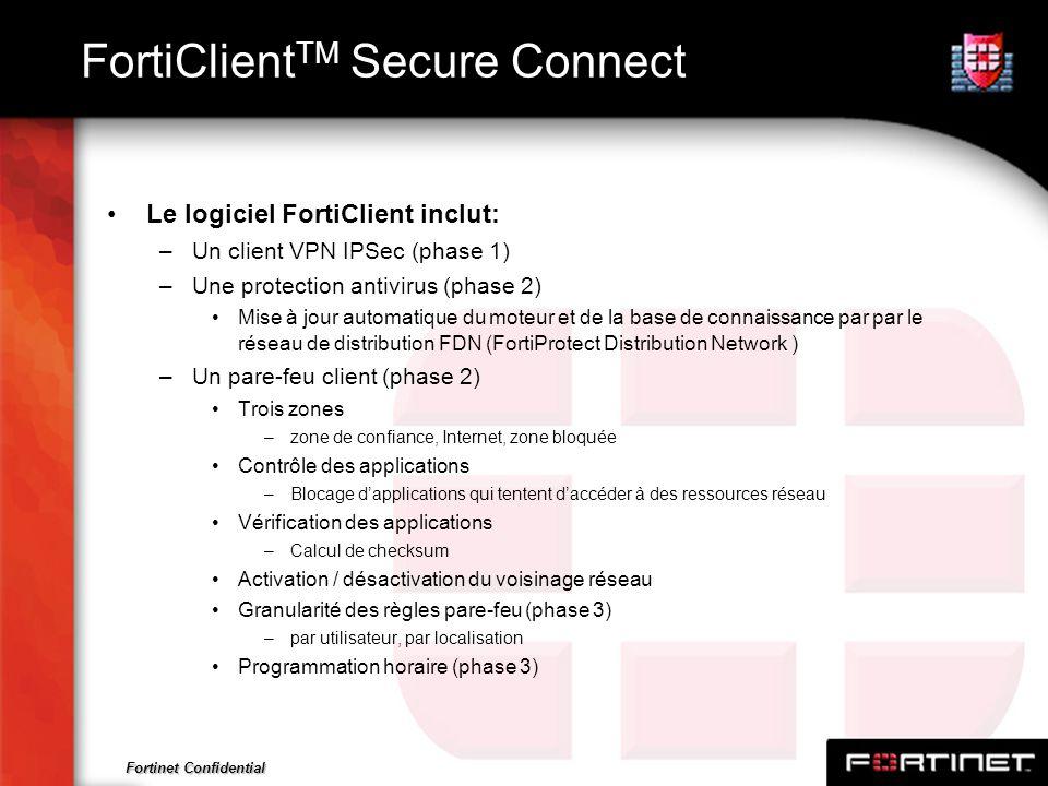 Fortinet Confidential FortiClient TM Secure Connect Le logiciel FortiClient inclut: –Un client VPN IPSec (phase 1) –Une protection antivirus (phase 2)