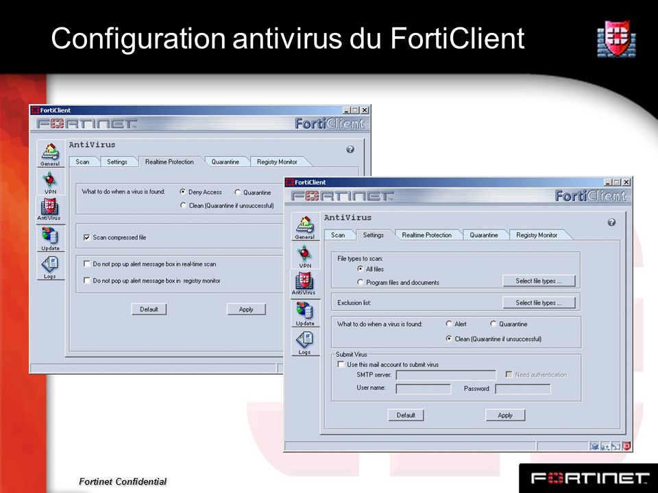 Fortinet Confidential Configuration antivirus du FortiClient