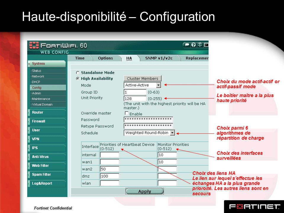 Fortinet Confidential Haute-disponibilité – Configuration Choix parmi 6 algorithmes de répartition de charge Le boîtier maître a la plus haute priorit