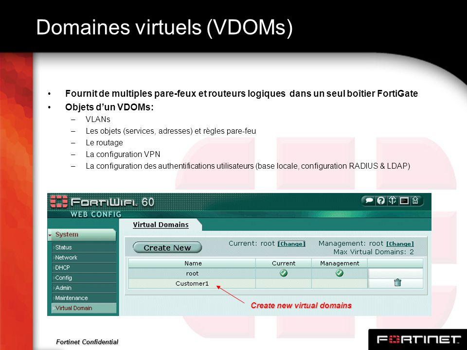 Fortinet Confidential Domaines virtuels (VDOMs) Fournit de multiples pare-feux et routeurs logiques dans un seul boîtier FortiGate Objets dun VDOMs: –