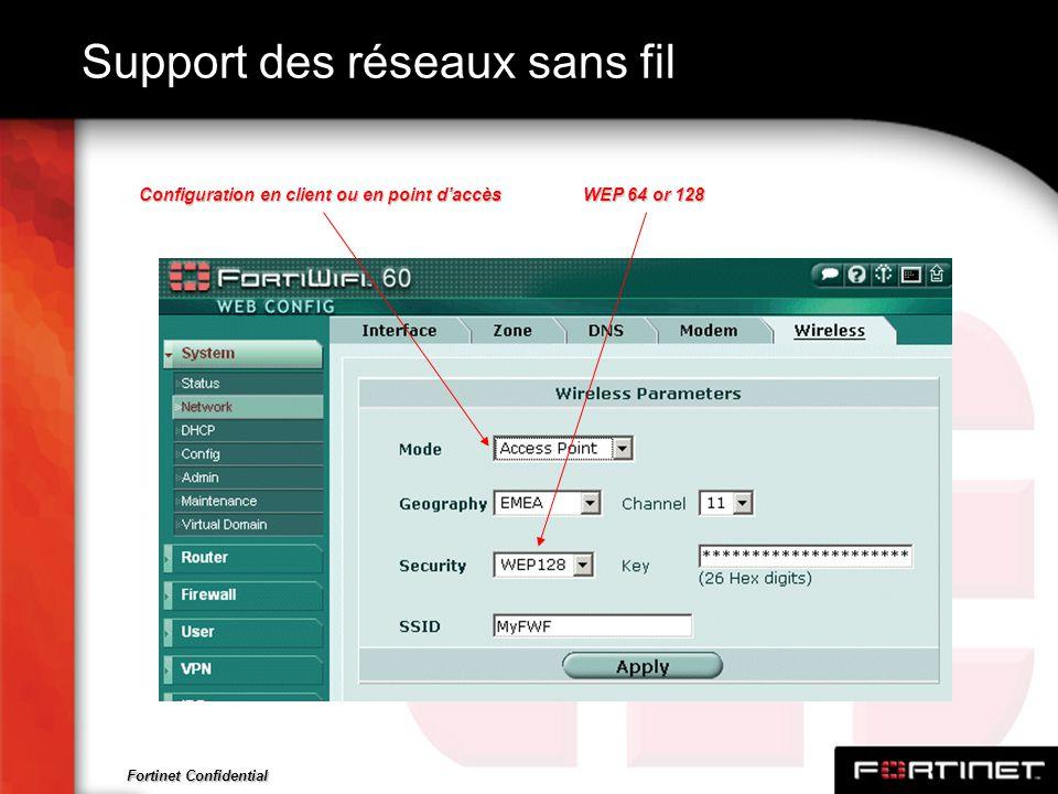 Fortinet Confidential Support des réseaux sans fil WEP 64 or 128 Configuration en client ou en point daccès