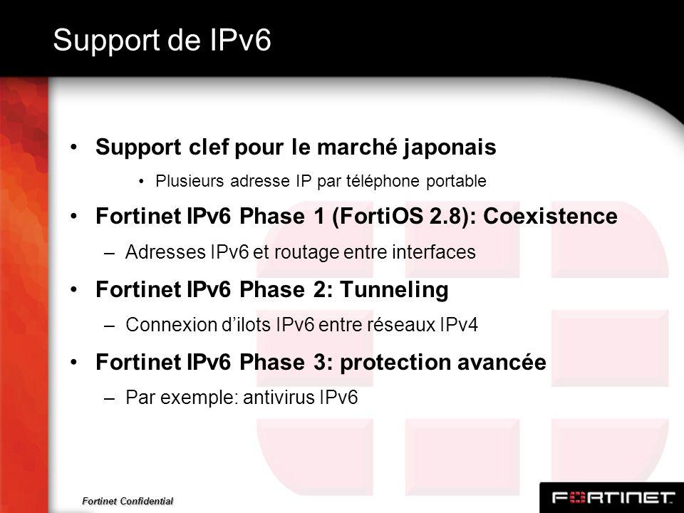 Fortinet Confidential Support de IPv6 Support clef pour le marché japonais Plusieurs adresse IP par téléphone portable Fortinet IPv6 Phase 1 (FortiOS