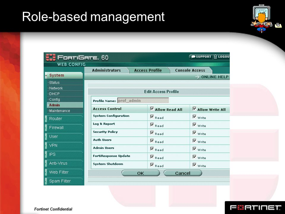 Fortinet Confidential Role-based management