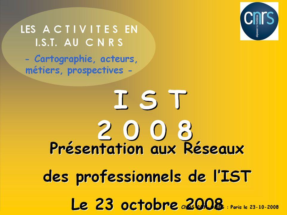 1 1- Identifier et répertorier chacune des activités en IST principales activités en IST 2- 2-Identifier et répertorier les champs de compétences compétences attachés à la réalisation de chacune des activités du référentiel 3-acteurs 3- Identifier l ensemble des différents acteurs qui pratiquent des activités en IST, et de qualifier et quantifier leurs activités, La méthodologie en objectifs CNRS-DRH-OMES : Paris le 23-10-2008
