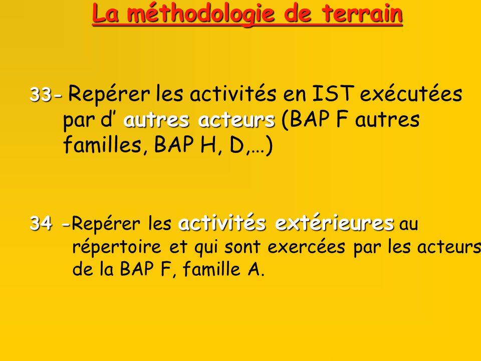 33- 33- Repérer les activités en IST exécutées autres acteurs par d autres acteurs (BAP F autres familles, BAP H, D,…) 34 - activités extérieures 34 -Repérer les activités extérieures au répertoire et qui sont exercées par les acteurs de la BAP F, famille A.