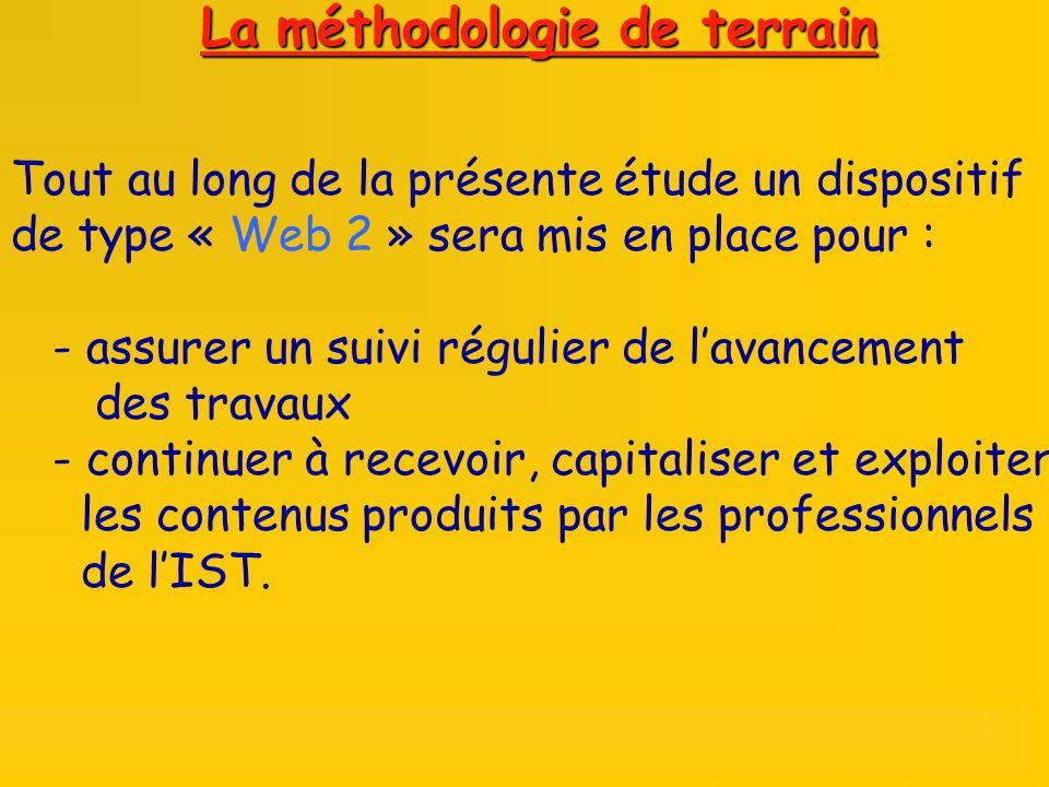 Tout au long de la présente étude un dispositif de type « Web 2 » sera mis en place pour : - assurer un suivi régulier de lavancement des travaux - continuer à recevoir, capitaliser et exploiter les contenus produits par les professionnels de lIST.