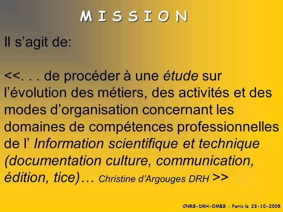 Il sagit de: > M I S S I O N CNRS-DRH-OMES : Paris le 23-10-2008