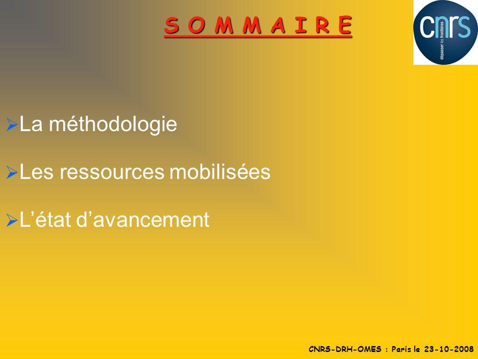La méthodologie Les ressources mobilisées Létat davancement S O M M A I R E CNRS-DRH-OMES : Paris le 23-10-2008