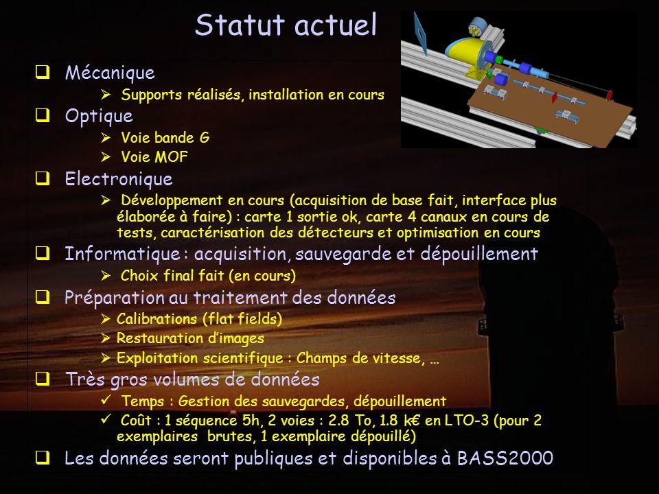 Mécanique Supports réalisés, installation en cours Optique Voie bande G Voie MOF Electronique Développement en cours (acquisition de base fait, interf