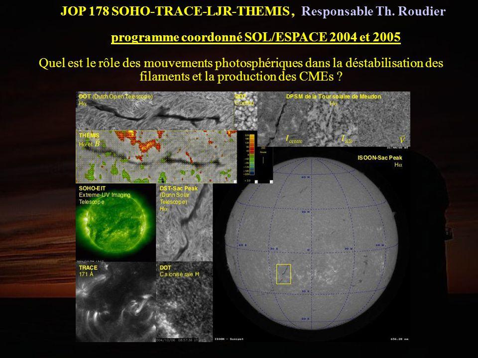 JOP 178 SOHO-TRACE-LJR-THEMIS, Responsable Th. Roudier programme coordonné SOL/ESPACE 2004 et 2005 Quel est le rôle des mouvements photosphériques dan