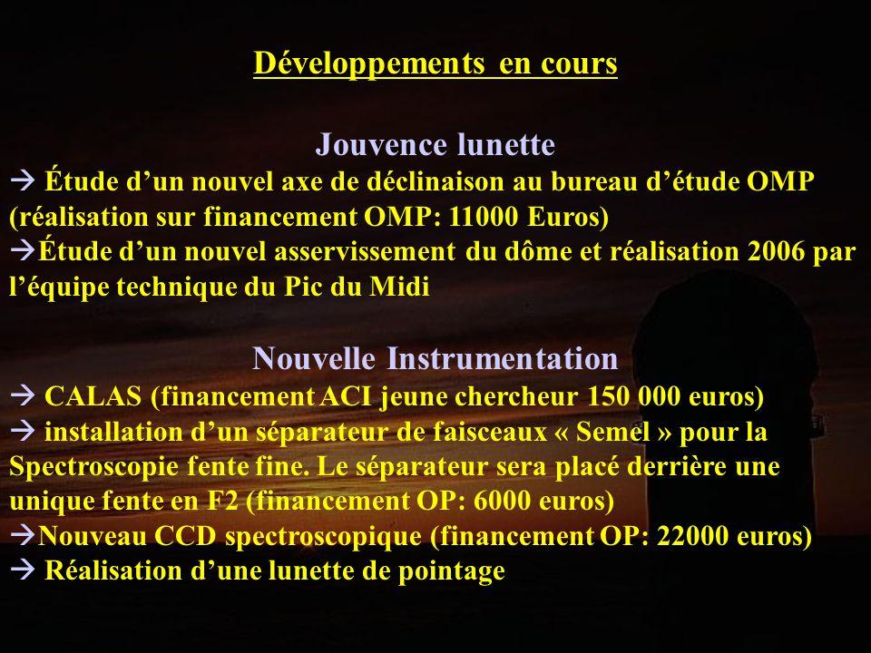 Développements en cours Jouvence lunette Étude dun nouvel axe de déclinaison au bureau détude OMP (réalisation sur financement OMP: 11000 Euros) Étude