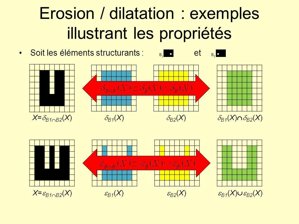 Erosion / dilatation : exemples illustrant les propriétés Soit les éléments structurants : et B1B1 B2B2 X= B1 B2 (X) B1 (X) B2 (X) B1 (X) B2 (X) X= B1