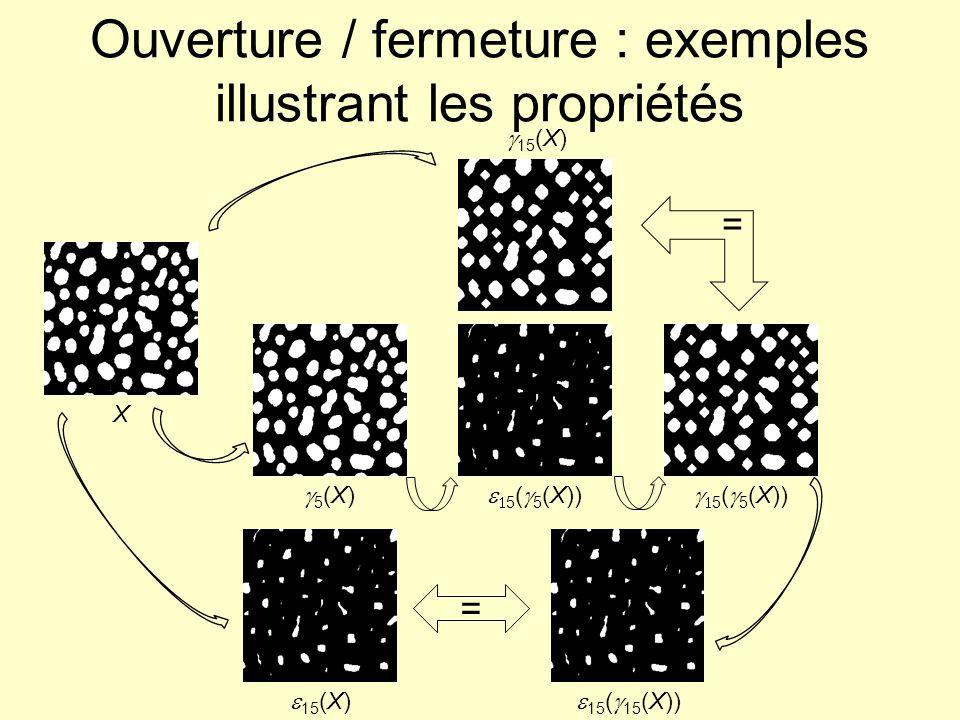 Ouverture / fermeture : exemples illustrant les propriétés X = 15 (X) 5 (X) 5 ( 5 (X)) 15 (X) 15 ( 15 (X)) =