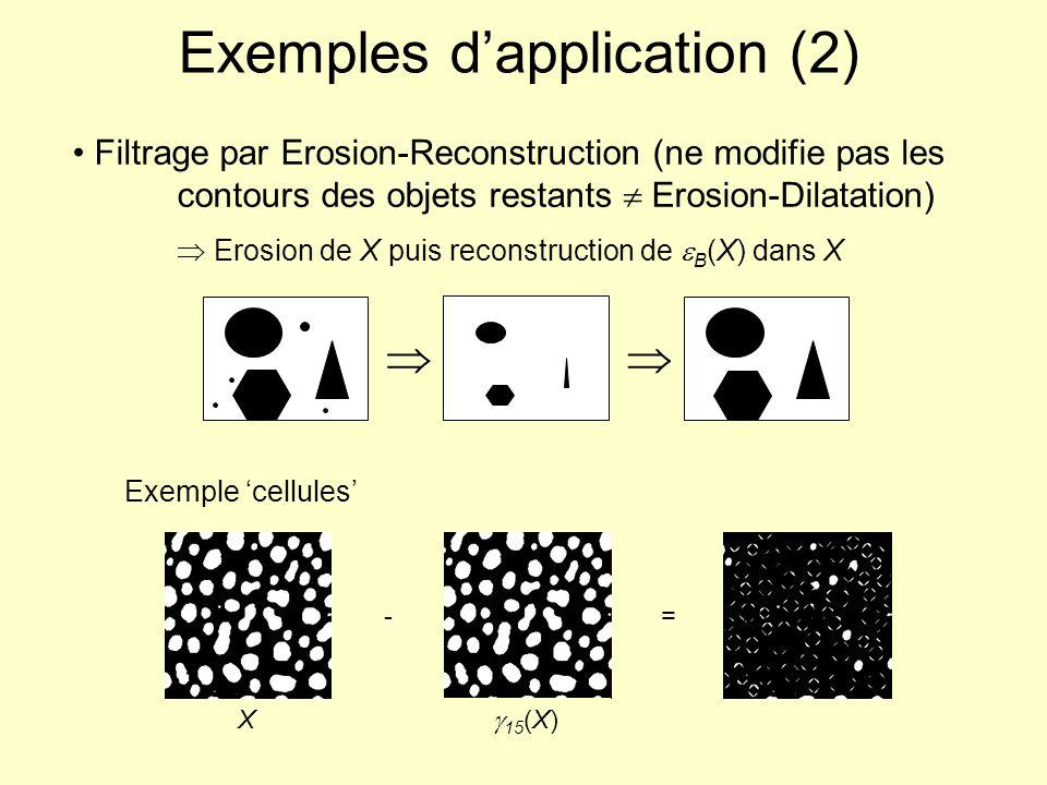 Filtrage par Erosion-Reconstruction (ne modifie pas les contours des objets restants Erosion-Dilatation) Erosion de X puis reconstruction de B (X) dan