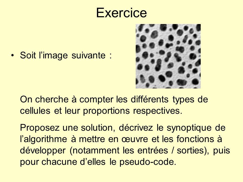 Exercice Soit limage suivante : On cherche à compter les différents types de cellules et leur proportions respectives. Proposez une solution, décrivez