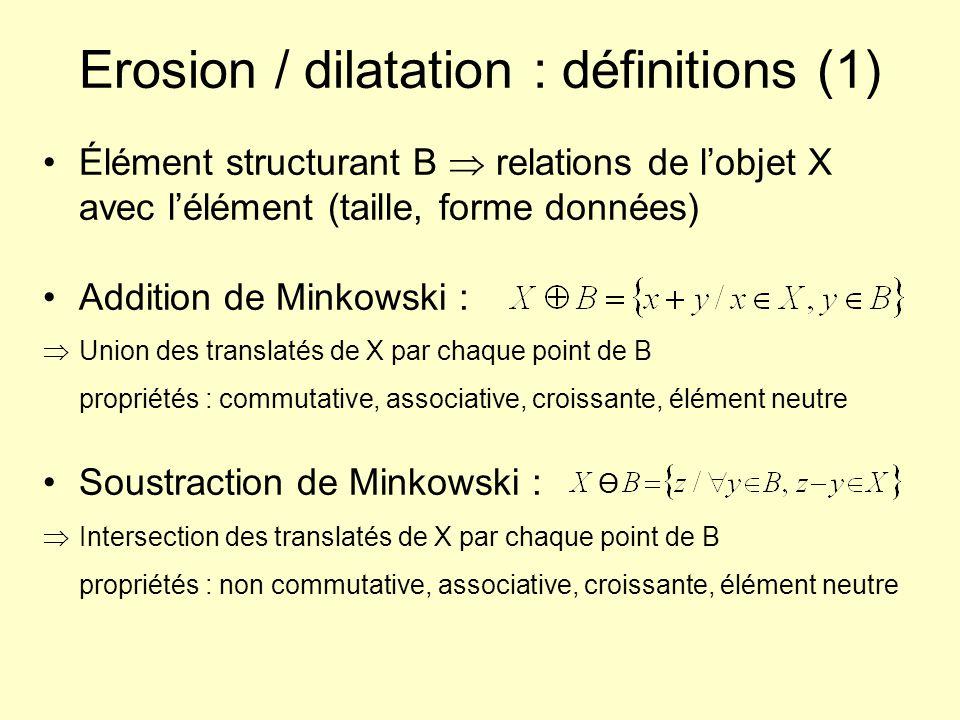 Erosion / dilatation : définitions (1) Élément structurant B relations de lobjet X avec lélément (taille, forme données) Addition de Minkowski : Union