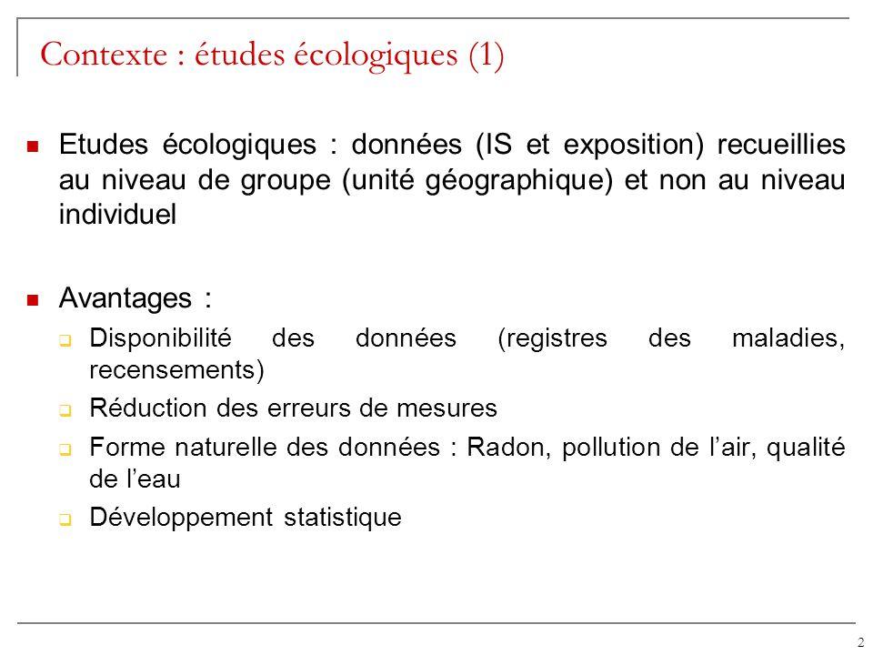 2 Contexte : études écologiques (1) Etudes écologiques : données (IS et exposition) recueillies au niveau de groupe (unité géographique) et non au niv