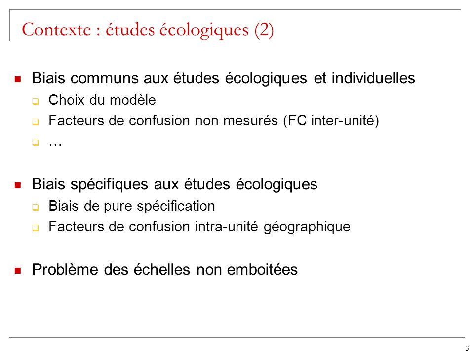 3 Contexte : études écologiques (2) Biais communs aux études écologiques et individuelles Choix du modèle Facteurs de confusion non mesurés (FC inter-
