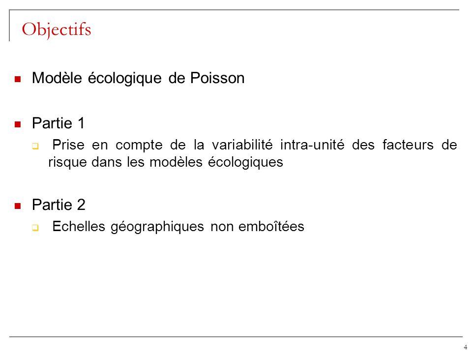 4 Objectifs Modèle écologique de Poisson Partie 1 Prise en compte de la variabilité intra-unité des facteurs de risque dans les modèles écologiques Pa