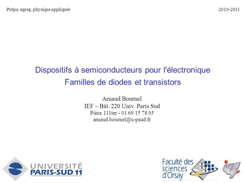 Dispositifs à semiconducteurs pour l'électronique Familles de diodes et transistors Prépa. agreg. physique appliquée2010-2011 Arnaud Bournel IEF – Bât