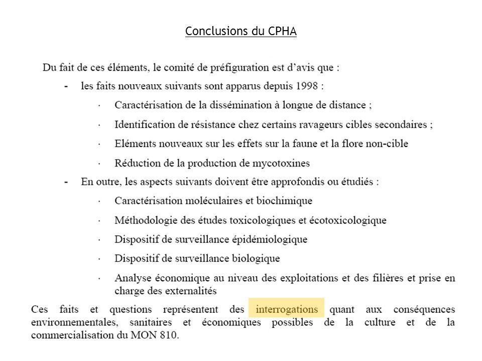 Conclusions du CPHA