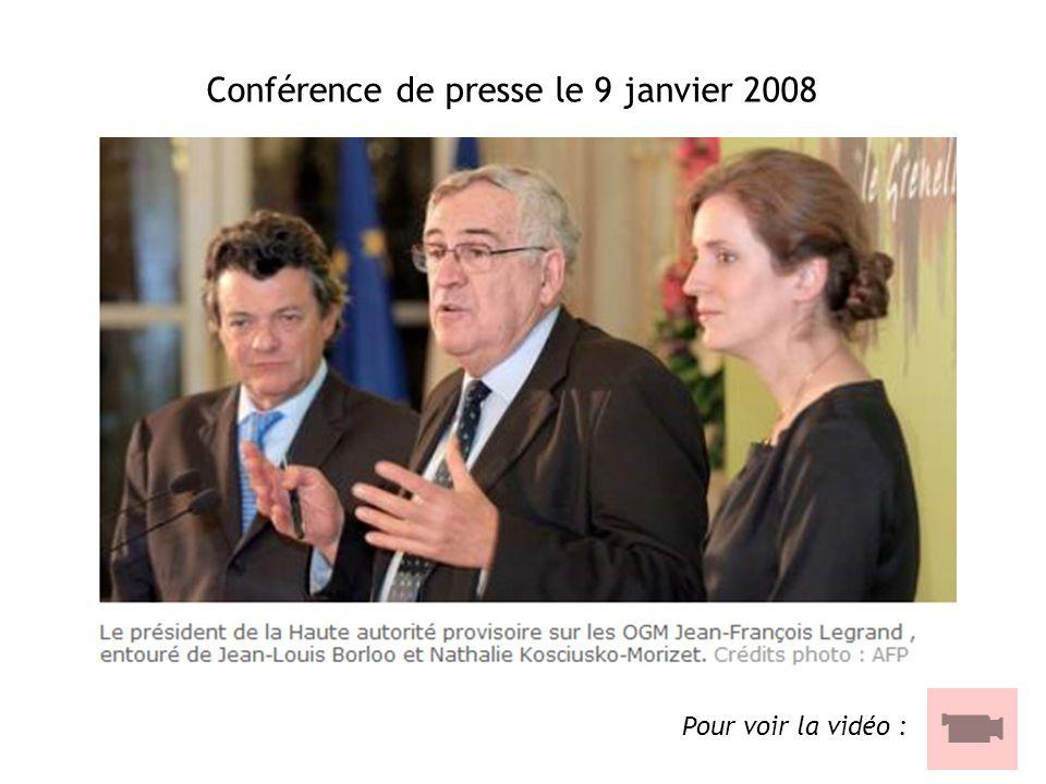 Conférence de presse le 9 janvier 2008 Pour voir la vidéo :
