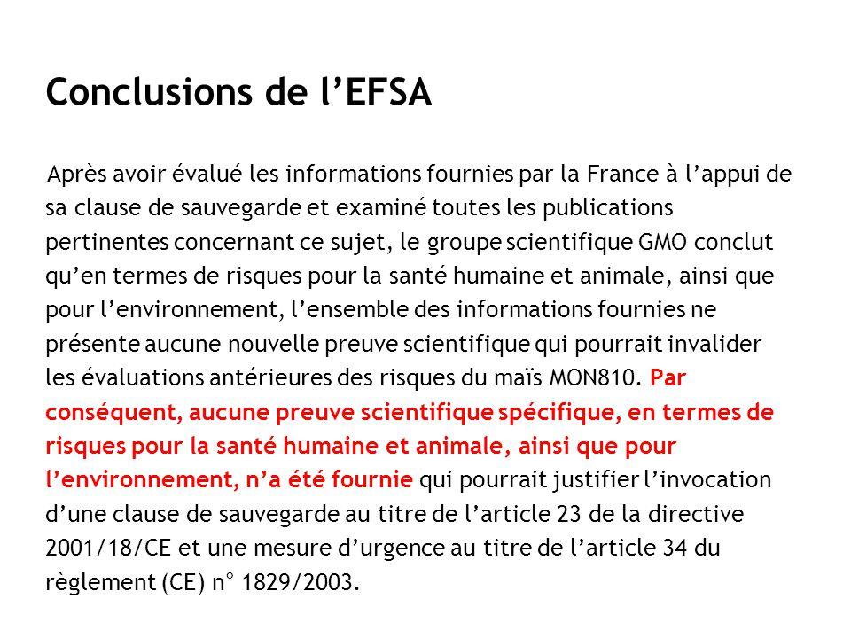 Après avoir évalué les informations fournies par la France à lappui de sa clause de sauvegarde et examiné toutes les publications pertinentes concerna