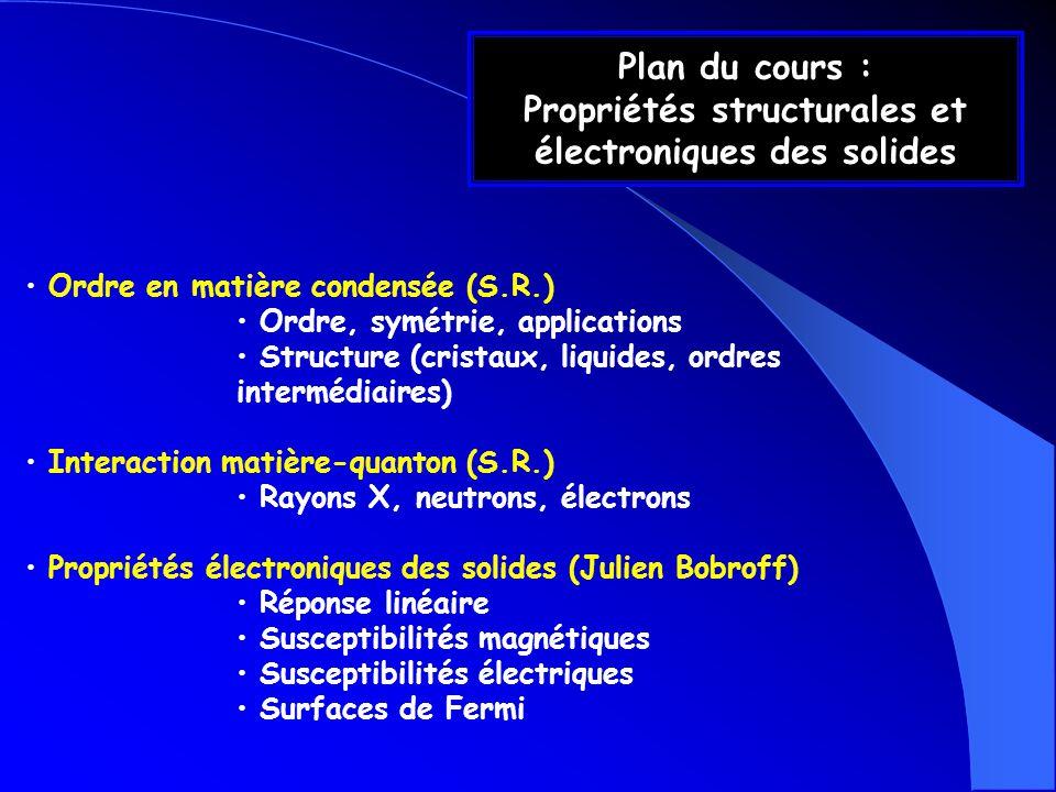 Ordre en matière condensée (S.R.) Ordre, symétrie, applications Structure (cristaux, liquides, ordres intermédiaires) Interaction matière-quanton (S.R
