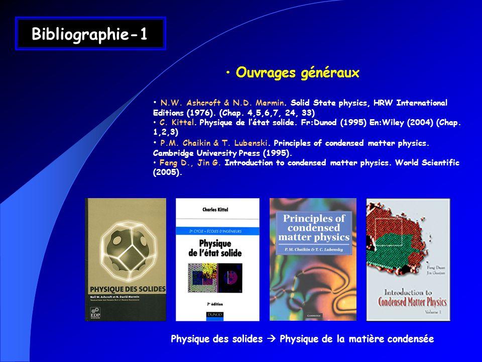 Ouvrages généraux N.W. Ashcroft & N.D. Mermin. Solid State physics, HRW International Editions (1976). (Chap. 4,5,6,7, 24, 33) C. Kittel. Physique de