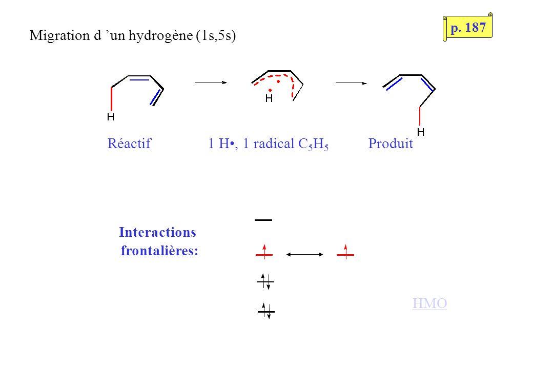 Réactif 1 H, 1 radical C 5 H 5 Produit Interactions frontalières: Migration d un hydrogène (1s,5s) HMO p. 187