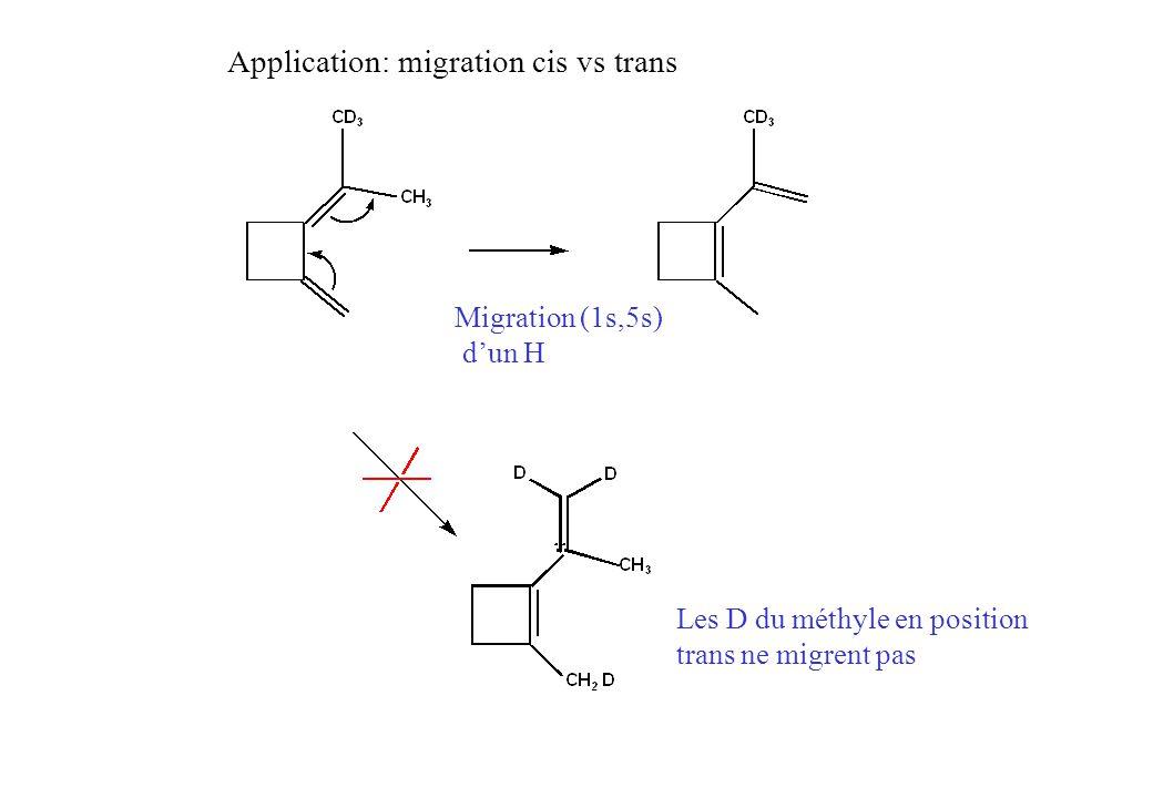 Migration (1s,5s) dun H Application: migration cis vs trans Les D du méthyle en position trans ne migrent pas