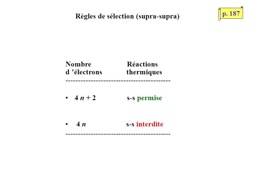 Règles de sélection (supra-supra) Nombre Réactions d électrons thermiques ------------------------------------------ 4 n + 2 s-s permise 4 n s-s inter