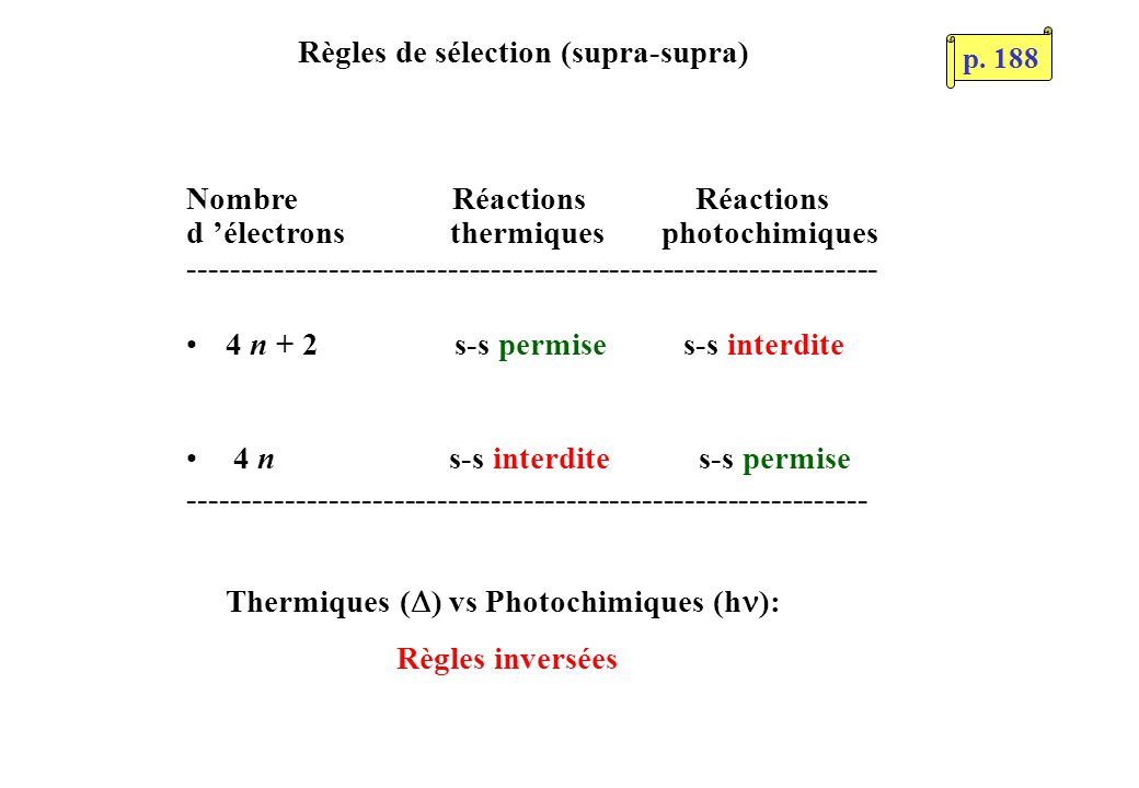 Règles de sélection (supra-supra) Thermiques ( ) vs Photochimiques (h ): Règles inversées Nombre Réactions Réactions d électrons thermiques photochimi
