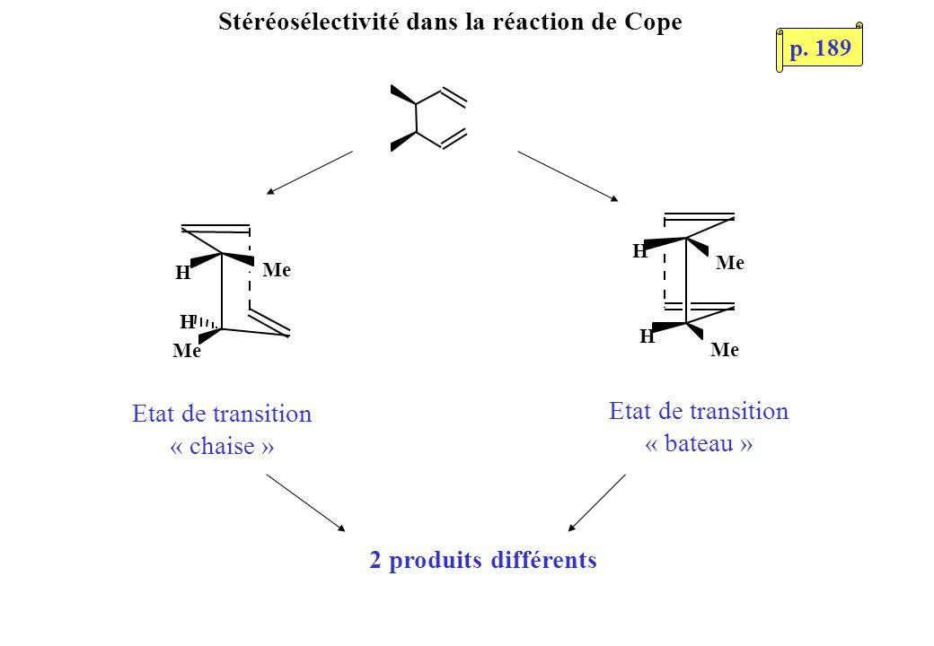 H H Me H H Stéréosélectivité dans la réaction de Cope 2 produits différents Etat de transition « chaise » Etat de transition « bateau » p. 189