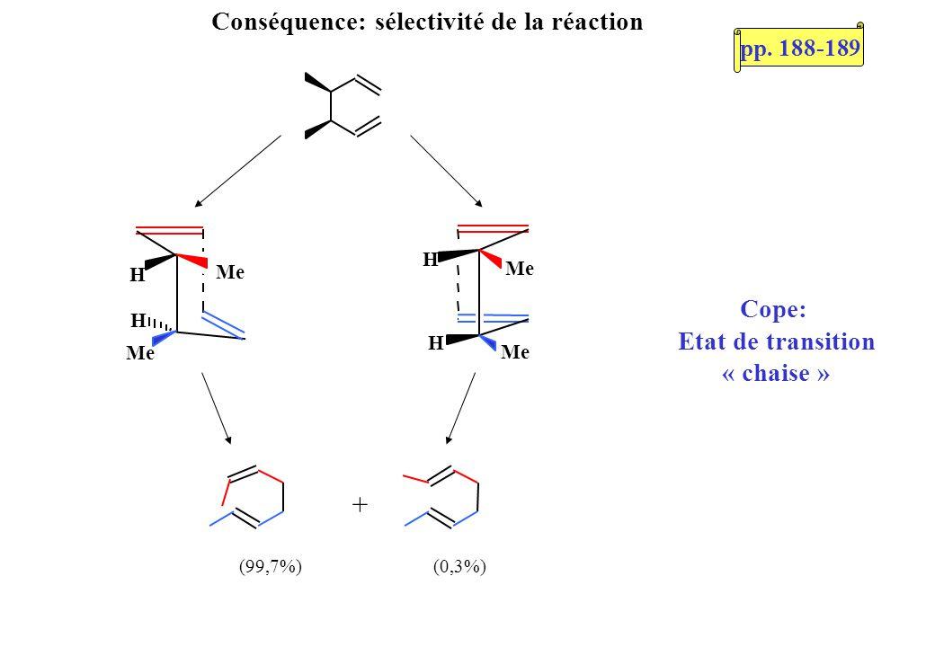 + (0,3%) (99,7%) H H Me H H Conséquence: sélectivité de la réaction Cope: Etat de transition « chaise » pp. 188-189