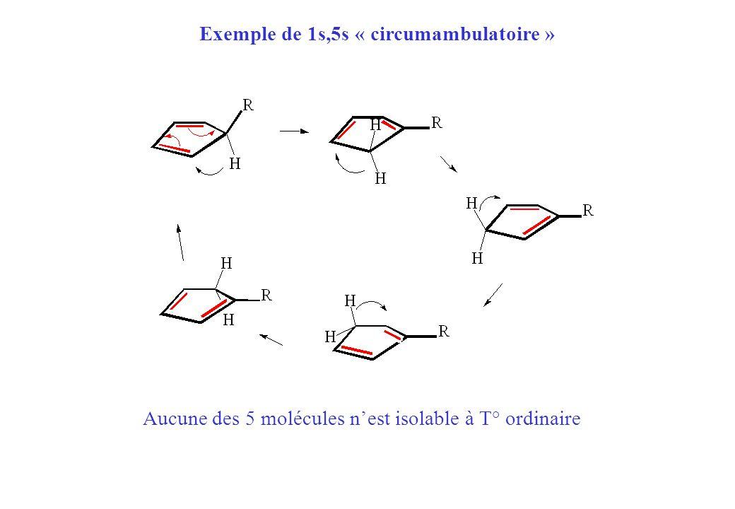 Exemple de 1s,5s « circumambulatoire » Aucune des 5 molécules nest isolable à T° ordinaire
